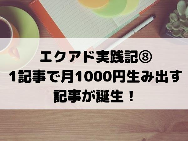 エクアド実践記⑧11週目。1記事で月1000円稼げる記事が誕生!